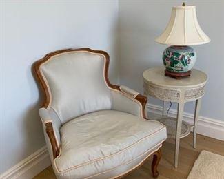 Silk side chair.  Pretty. Bedroom perhaps.  $240