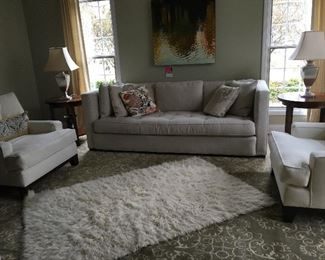 Cherie sofa,  Small snag on front left, $499.00 ,  rug Restoration Hardware area rug, 10' x 14'(green & cream)  all wool  $399.99  White shag rug $159.00