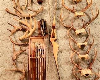 Buck horns, bow & arrows, arrow Fletcher & arrow buried in branch