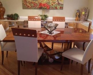 "$1,500 High end Italian dining room with leaves and pads 81"" long"
