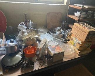 much misc household including pasta maker, juicer, Waffle maker, pots & pans