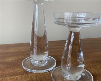 2 HEAVY CRYSTAL CANDLE STICKS $10
