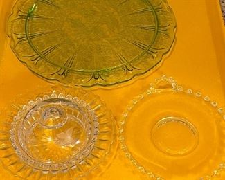 4 PC GLASS SERVING DISHES - GREEN DEPRESSION GLASS AND 2 CANDLEWICK PIECES  $15
