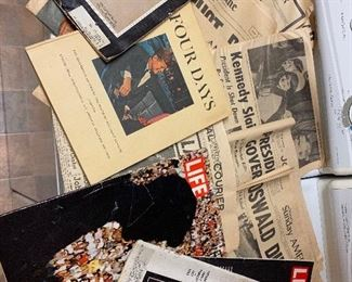 JFK VINTAGE DEATH SET- 9 NEWSPAPERS, 4 MAGS, 1 BOOK $20 ALL