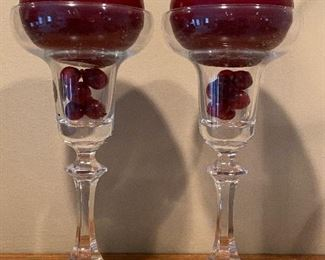 2 GLASS CANDLESTICK HOLDERS AND CANDLES $8