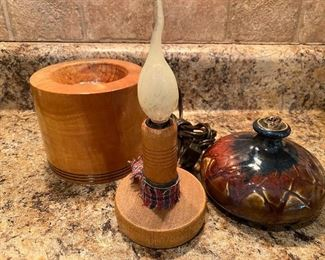 WOODEN CANDLESTICK HOLDER, ELECTRIC CANDLE, OIL LAMP  $10