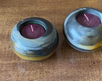 2 STONE CANDLE HOLDERS AND CANDLES $8