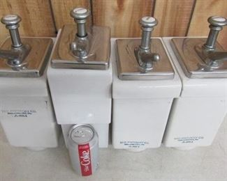 4 - Old Porcelain Syrup Dispensers w/Pumps                Price $200.00