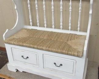 "38"" Long Painted Wood Bench w/Storage Underneath Seat - Price $200.00"