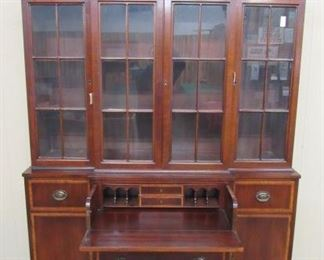 2 Piece Mahogany Breakfront China Cabinet w/Pull Out Desk - Price $325.00