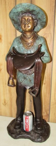 "32"" Tall Bronze Cowboy Statue - Price $500.00"