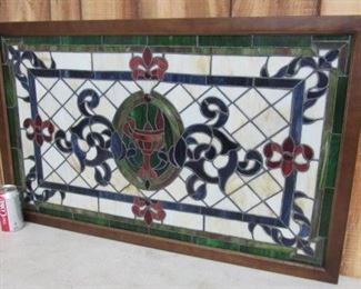 "22"" x 36"" Framed Stain Glass Window - Price $165.00"