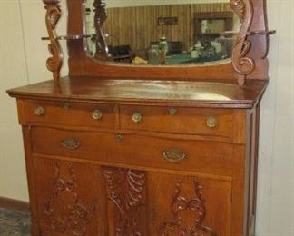 Fancy Oak Sideboard w/Carvings, Mirror, & Candle Shelves - Price $375.00