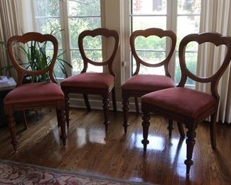 """Item 13Balloon Back side chairs. Top rail curves shaping an open back.  Upholstered seat.         C. 1900.  Walnut.  Two chairs have had          proper restoration.                                 34.25""""h x 17""""w  Seat height: 18""""h$200.00"""