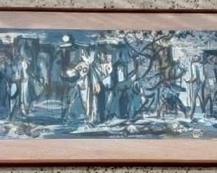 """PHIL DIKE Signed Original 50s 60s Watercolor Abstract Painting With the frame it is approx. 44"""" X 16 1/2"""" .  The actual painting is 39"""" X 12""""."""