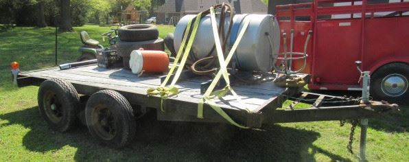 12' Tandem Axle Trailer - Price $500.00 - Items On Trailer NOT Included - See Next Photo For Another View