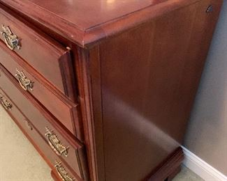 """NOW $700!!----$1,200- GORGEOUS king bedroom SET. Includes Furniture by American Drew and features a high boy measuring approximately 7' tall by 38"""" wide at the bottom and 33.2"""" wide on the top.  Dresser with large.  mirror includes ten drawers for ample storage measuring 66"""" long by 19"""" wide. Also includes a four poster very beautiful bed with a mattress (NO stains) by Spring Air which honestly feels like you are sleeping on a cloud!. Set INCLUDES, sheets, a white comforter, and several pillows and extra blankets."""