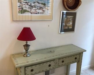 Painted & Stenciled Console Table - $450  REDUCED TO $225- REDUCED FURTHER TO $150