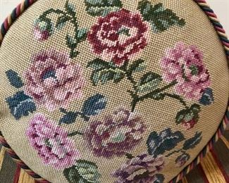 Needlepoint Round Pillow - $30  REDUCED TO $20