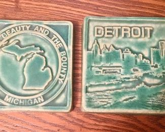 Two Pewabic pottery tiles, Michigan & Detroit
