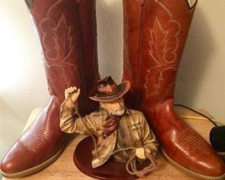Vintage (like new) cowboy boots, Marboro belt buckle, coyboy figurine