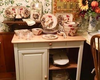 Modern kitchen cupboard/island, modern chicken stoneware, lightly used small appliances, etc.