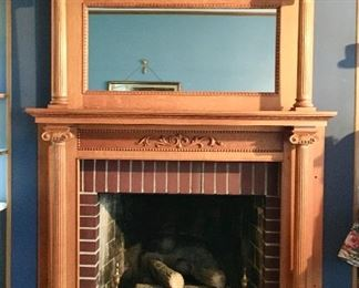 Antique Oak Fireplace surround w/ mirror