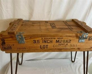 Vintage Wooden Ammo Box Table