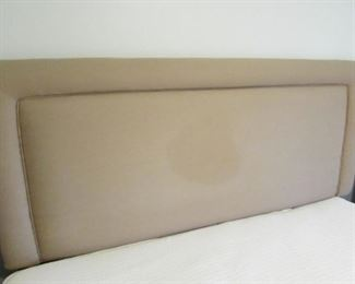 """Queen padded headboard. HEADBOARD ONLY). (Condition note: spot to fabric as seen in photo). 61""""w X 51""""h PRICE: $40.00"""
