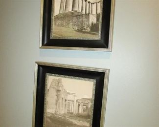 """SET OF 2 framed architectural prints. 11.5""""w X 13.75""""h PRICE: $20.00 for PAIR"""