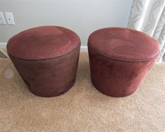 """SET OF 2 deep red/rust colored ottomans. 18""""w X 14""""h X 18""""w PRICE: $50.00 for pair"""