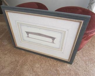 """Framed architectural print from Chez-Del Interiors of Akron. 27""""w X 19.5""""t PRICE: $45.00"""