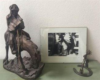 1980 Austin Production Cowboy Horse Sculpture, Print,  Horseshoe