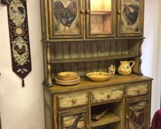 Faux French Crackled Rooster Kitchen Hutch