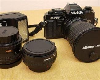 Minolta X700 Camera w Lenses, Case, Flash and Tripod