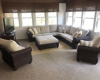 Hampton Bay Sectional with large ottoman. Like new! Excellent condition $800