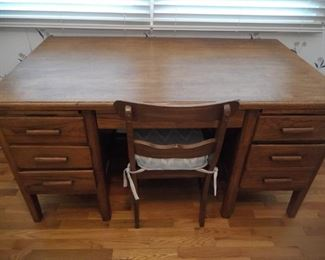 Oak desk and chair $100
