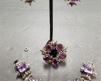 $425.00 Earrings & Bracelet,               $200.00 Brooch.                                      Guglielmo Cini 925 Silver Amethyst Bracelet, Brooch & Cilp-On Earrings