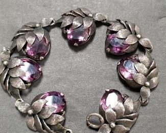 $350.00 Guglielmo Cini 925 Silver Amethyst Bracelet