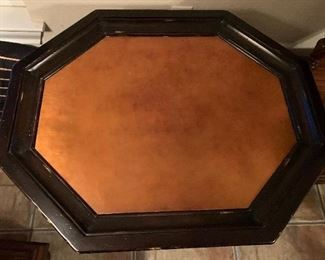 UNUSUAL OCTAGON COPPER TONED TOP ANTIQUE TABLE ~ $325 ~ REDUCED $150)