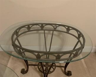 GLASS TOP METAL TABLE ONE OF TWO~$150  ( REDUCED $115)