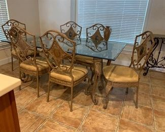 """575 ~Exquisite glass top metal table with  six custom upholstered chairs-  6' ft length x  41"""" wide"""