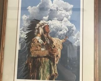 Signed Paul Calle lithograph of Native American chief $125-