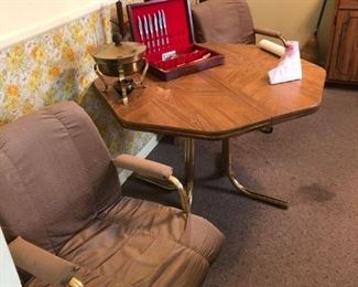 KITCHEN TABLE LEAF AND FOUR CHAIRS $75
