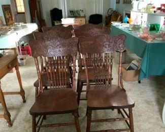 6 Antique Pressed Back Chairs