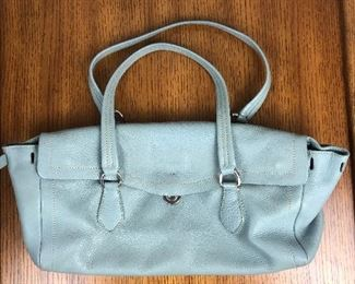 "Lot 10: Authentic PRADA light blue leather bag; 14"" wide, 6"" tall; $245 (discounts not applicable)"