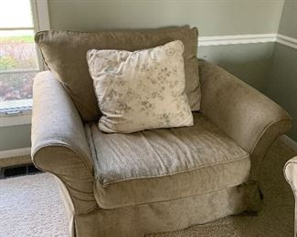 "Custom slip cover chair with ottoman (50""W x 37""D x 29""T) - $150 or best offer."