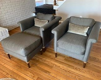 "J. Robert Scott rolled arm chairs (pair) (32""W x 36""D x 29.5""T) Ottoman (29.5""W x 21""D x 22""T) - $2,400 or best offer (PAIR)."