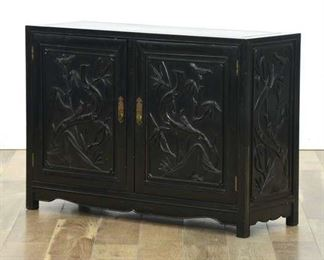 Carved Asian Solid Wood Cabinet