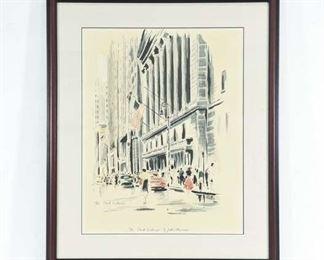 Watercolor John Haymson The Stock Exchange C. 1950'S
